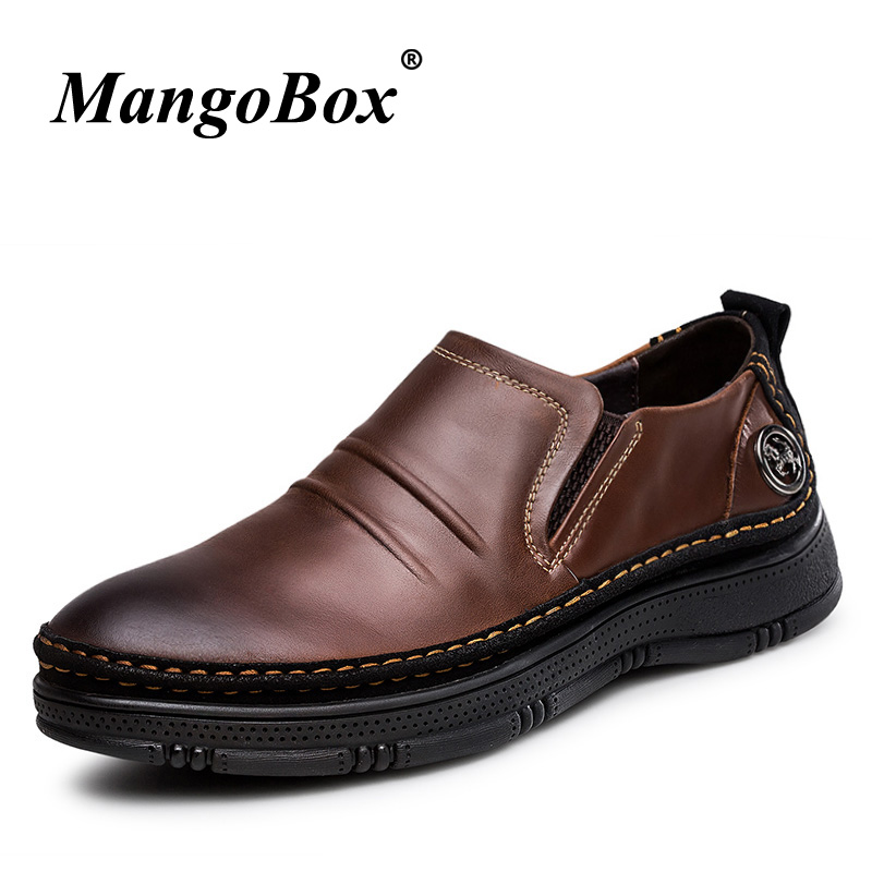 Mens Shoes Made Of Cow Genuine Leather Rubber Soles Men Formal Shoes Slip-on Casual Business Men Big Size 48 Men Designer Shoes