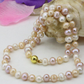 Natural pearl beads necklace 7-8mm freshwater multicolor nearround chain strand jewelry women statement choker gift 18inch B3227