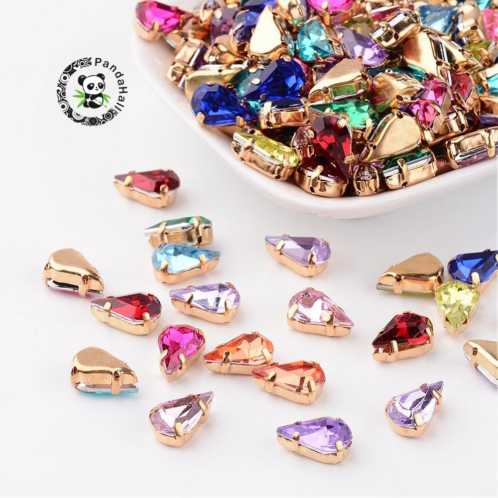 Mix Golden Drop Bead Acrylic Rhinestone Montee crystal beads for jewelry making DIY necklace Earring accessories,13x8x5.5mm F60