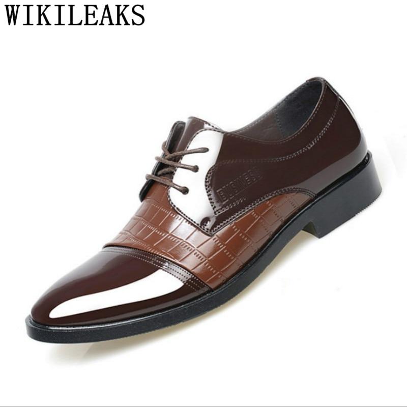 Crocodile Zapatos Oxford Noir marron Élégant Hommes En Schuhe Formelle Coiffeur Verni Italien Chaussures Herren Cuir Hombre lFK1cJ