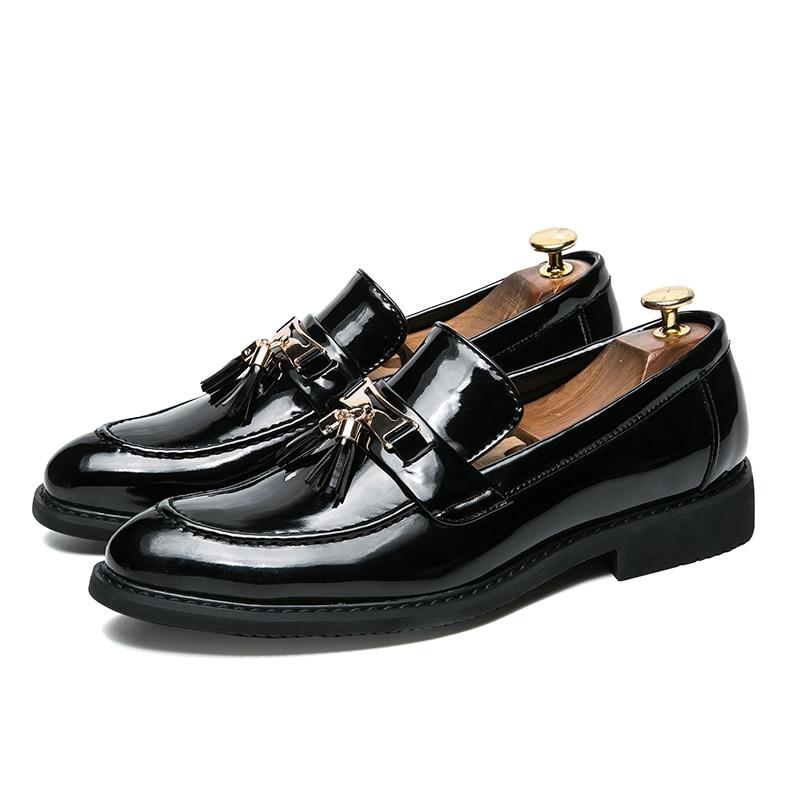 Masculinos Para Marca Luxo Homens Deslizar De Sobre Italiano Borla Flats Vestido Preto Calçados Couro Formal Oxford Sapatos Metal Clássico wppBqPIZ