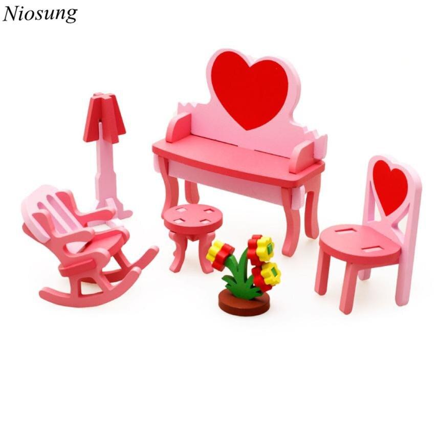 Niosung/новый детский Ранние развивающие игрушки деревянные Конструкторы 3D домашний стол стул комод подарок