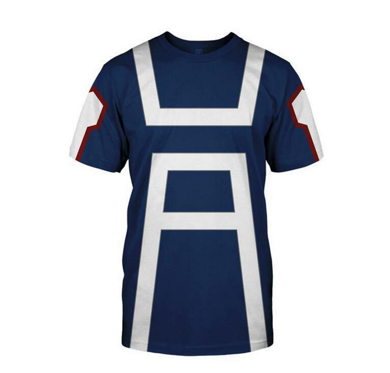 New My Hero Academia Men's Summer T-shirts Midoriya Izuku 3D Printing School College Style Boku no Hero Academia Blue T Shirt To