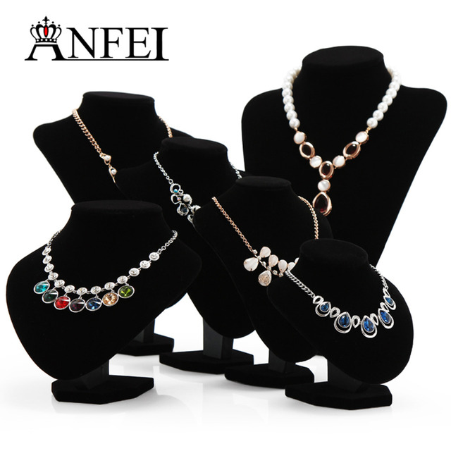 ANFEI Wholesale Distinguished Black Velvet Bust Necklace Display