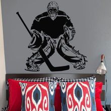 Free shiping Wall Decal Sticker Bedroom Kids Hockey Player Goalkeeper puck Boys  for room decoration