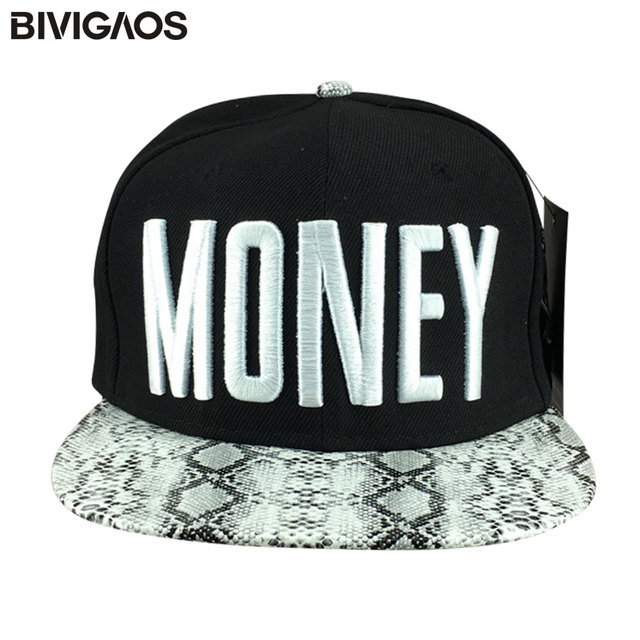 4de6a113773d4 Men Cap MONEY Embroidery Snakeskin Leather Baseball Caps Hip hop Hats Bones  Aba Reta Gorras Snapbacks Toucas For Men Women