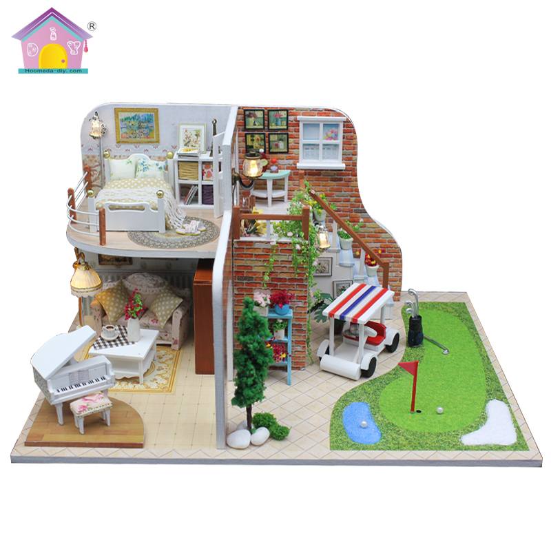 Doll House Furniture Diy Miniature Dust Cover 3D Wooden Miniaturas Dollhouse Toys for Christmas Gift GOLF