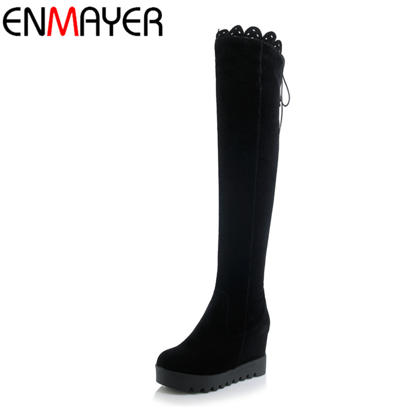 ENMAYER Winter Warm High Heels Knee High Boots Women Lace-Up Cut-out Lace Wedges Boots Shoes Woman Nubuck Platform Boots 2016 genuine leather women sandals fashion peep toe shoes woman popular mixed color wedges high heels glitter platform shoes