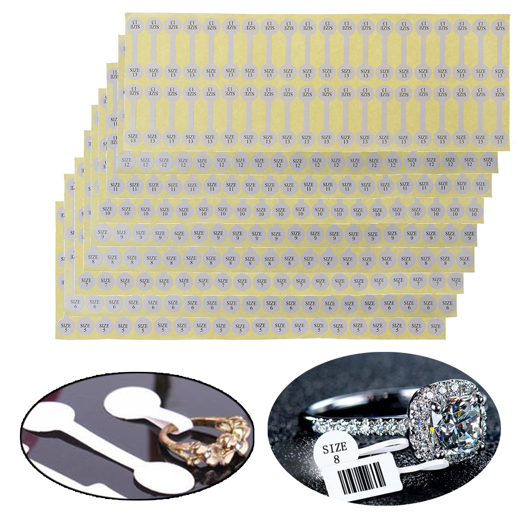 100Pcs White Paper Jewelry Sticker Ring Size Tag Labels Jewelry Display Cards