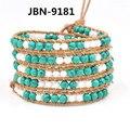 New style bracelet  natural turquoise Beads bracelet Leather 5X Wraps Bracelet jewelry Bracelet for men women drop ship JBN-9181