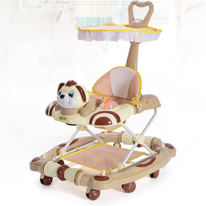 Multi-fonction Anti-retournement pliable avec musique bébé marcheur 8 roues enfant marche Assistant main push multi-range adjustme6-18M
