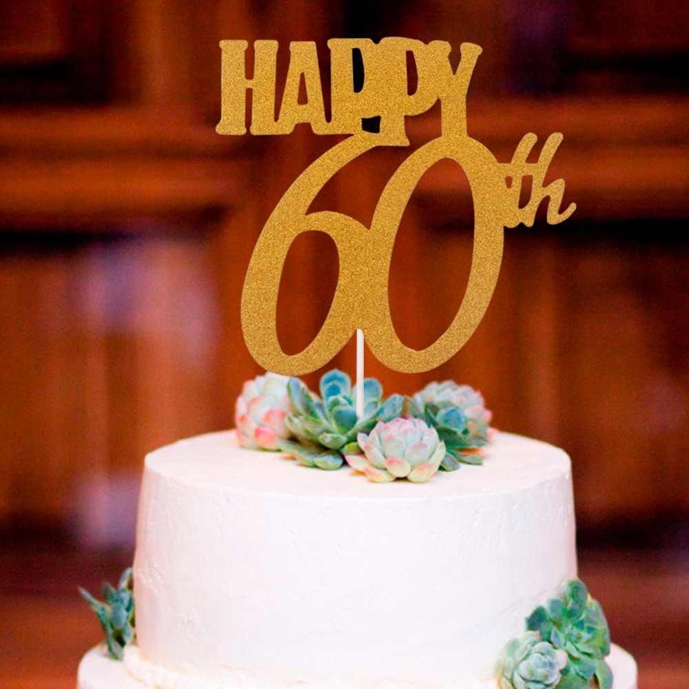 HUIRAN oro Feliz cumpleaños torta de cumpleaños decoración de la fiesta de cumpleaños 30 40 50 60 cumpleaños suministros boda decoración de aniversario
