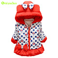 KEAIYOUHOU 2017 Winter Baby Jacket For Girls Bowknot Hooded Jackets Coats Girls Jacket Kids Warm Outerwear Coat Children Clothes