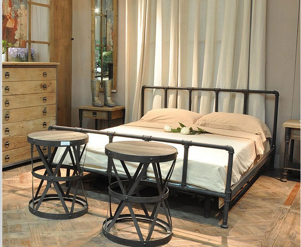 American Country Style Wrought Iron Beds Retro Industrial Pipe Fittings Bed