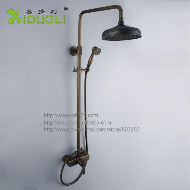 xdl 1235 antique brass rain shower faucet set b5052 wall