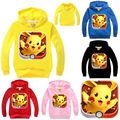 2016 Otoño Bebé Niños Niñas Niño Ocasional Pokemon Ir Sudaderas de manga larga Sudaderas Ropa Tops Coat 2-7Y