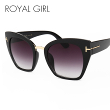 ROYAL GIRL Fashion Cat Eye Sunglasses Women Classic Brand Designer Female Gradient Flat Panel Lens Big Oculos ss191