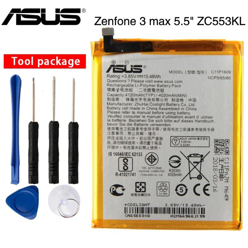 """Batterie originale ASUS haute capacité C11P1609 pour ASUS Zenfone 3 max 5.5 """"ZC553KL X00DDA Zenfone 4 max 5.2"""" ZC520KL X00HD"""