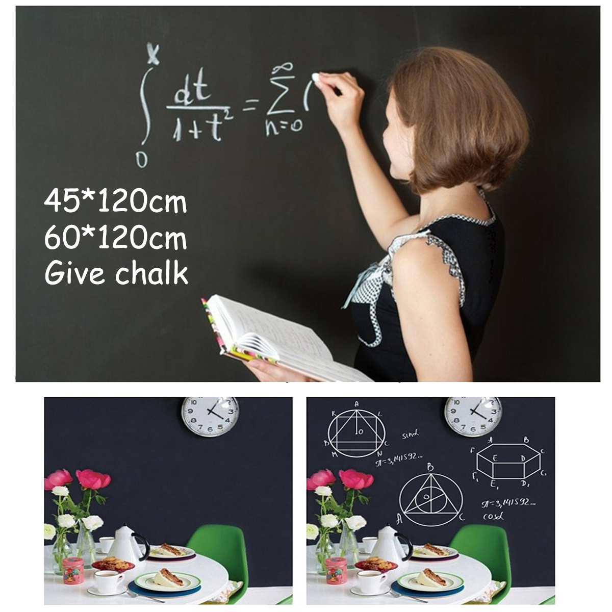 New Creative 60x200cm Chalk Board Blackboard Vinyl Draw Chalkboard Label Month Calendar Weekly Record Blackboard Wall Stickers in Wall Stickers from Home Garden