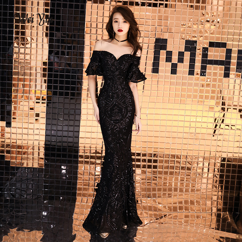 weiyin 2019 Black Mermaid Sequined Long   Evening     Dresses   With Sexy Off The Shoulder V Neck Women Formal   Dress   WY1130