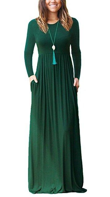 Женское осеннее черное платье женские длинные платья плюс размер Бохо карманное платье-макси цельное с длинным рукавом o-образным вырезом п...