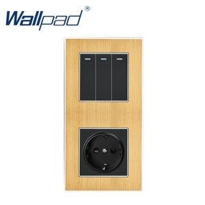 Image 3 - 3 Gang 2 yollu ab soket Wallpad lüks saten Metal Panel basma düğmesi Rocker duvar ışık anahtarı + ab soket 110V 250V