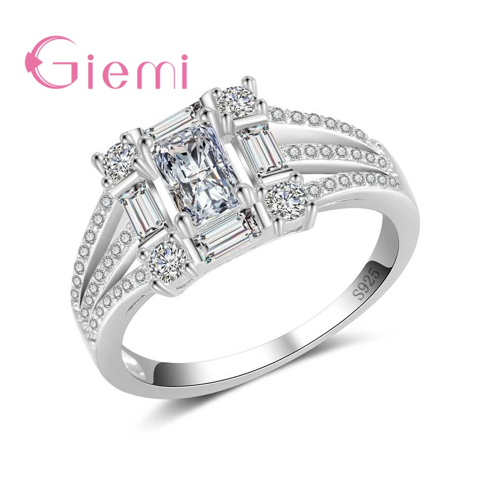 GIEMI Antique Retro Rings for Women Geometric Big Square Design 925 Sterling Silver Jewelry Best Wedding Bridal Female Bague