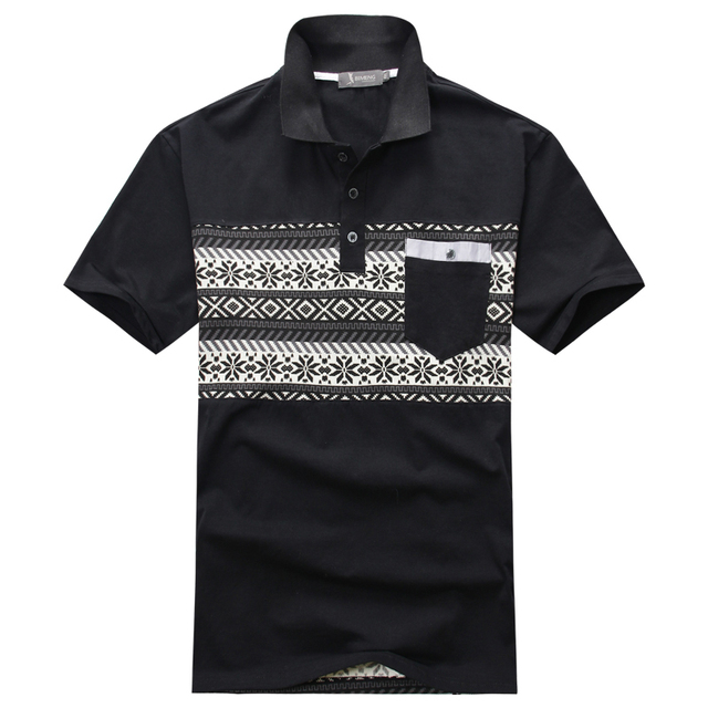 PLUS SIZE ONLY 3XL-7XL New 2016 Men Solid Polo Shirt Summer Ethnic Pattern Shirts Men Polo 6XL 2 colors Short Sleeve P0200