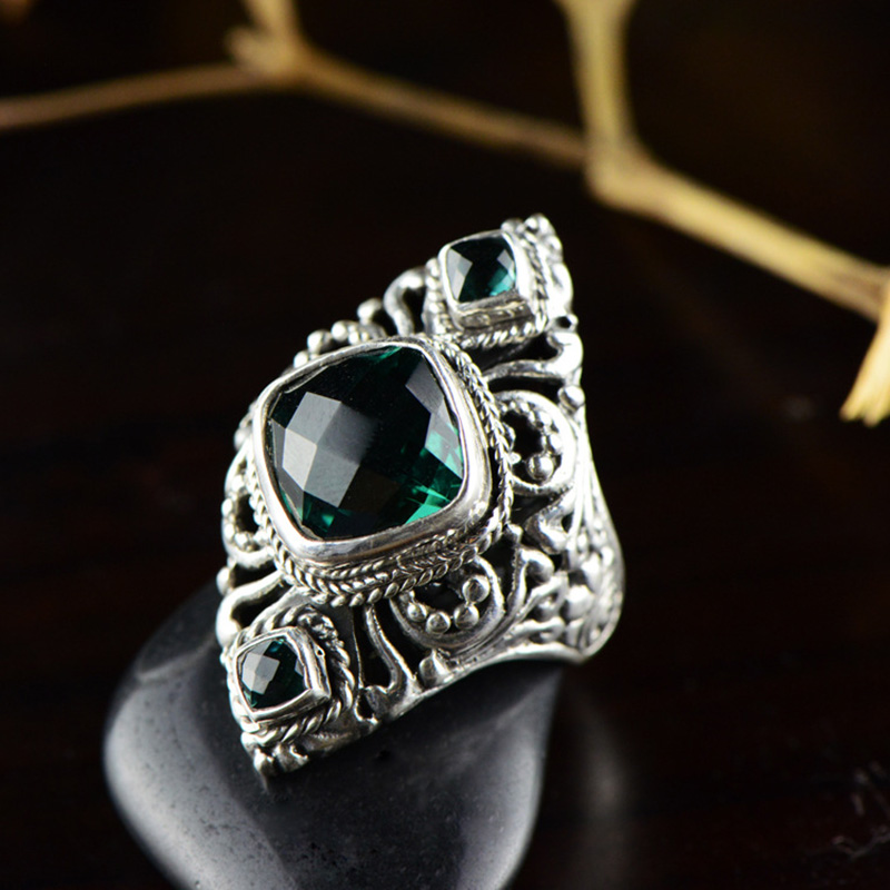 Real Pure 925 Silver Ring Exaggerated Large Rings for Women Natural Crystal Stone Hollow Flower Fine Jewelry AnillosReal Pure 925 Silver Ring Exaggerated Large Rings for Women Natural Crystal Stone Hollow Flower Fine Jewelry Anillos