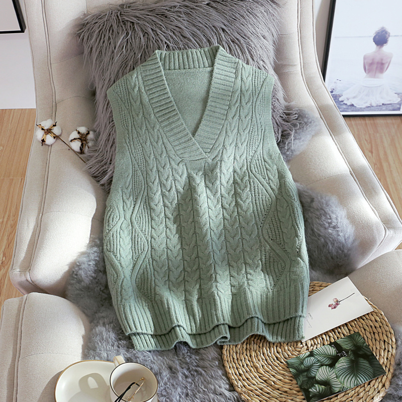 High Quality Faux Cashmere Warm Female Vest Korean Loose Knitted Sweater For Women Spring Modis V-Neck Sleeveless Feminine Coat