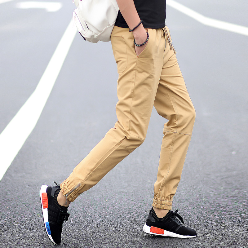 2017 Fashion Men s Khaki Joggers Pants High Quality Men Legging Feet Pants Harem Street Active