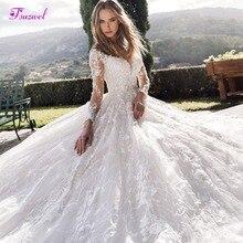 Роскошное Свадебное платье трапециевидной формы с аппликацией и длинным рукавом, украшенное бусинами, с глубоким декольте