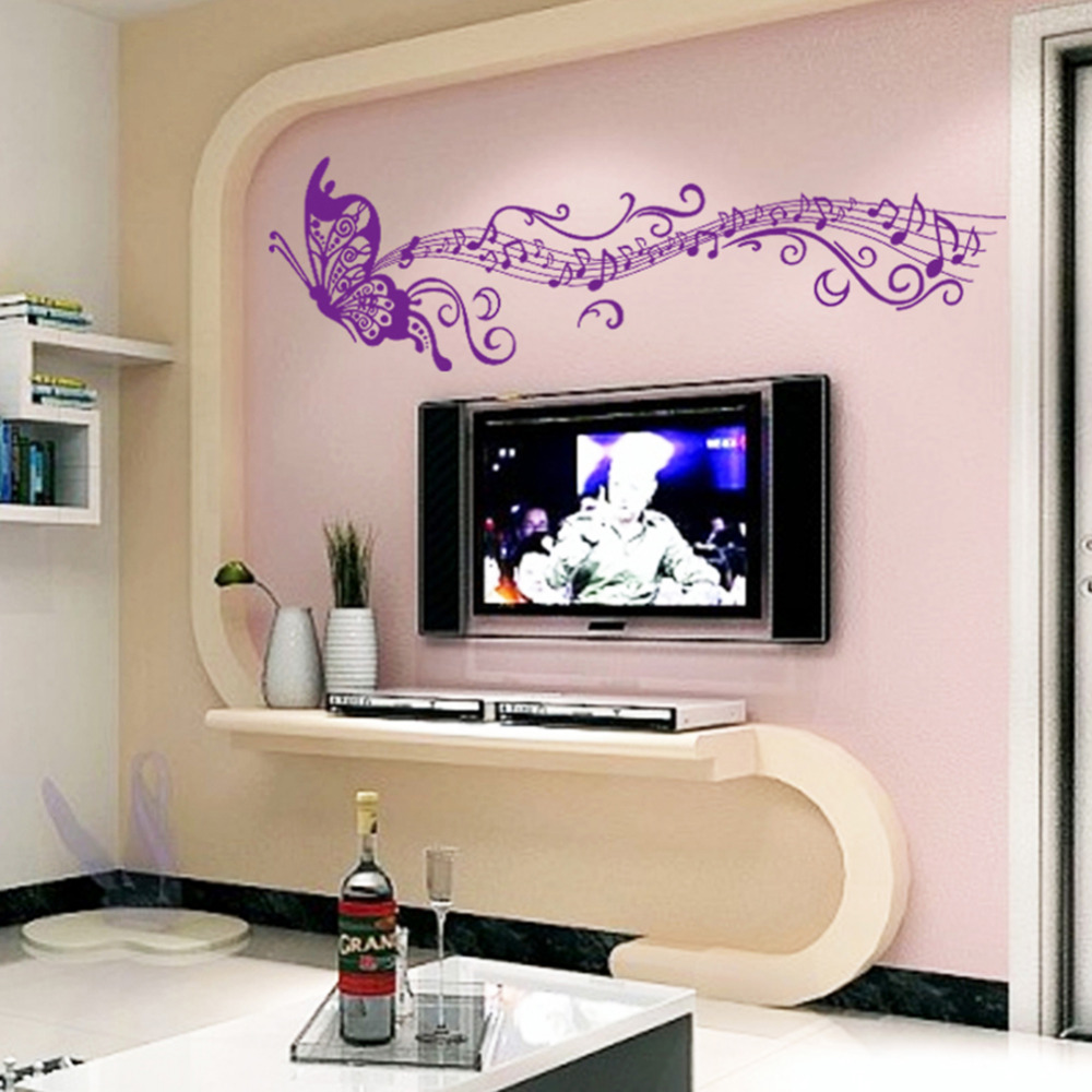 Dream purple butterfly wall stickers removable creative diy stave music vinyl home bedroom for Olafur arnalds living room songs vinyl
