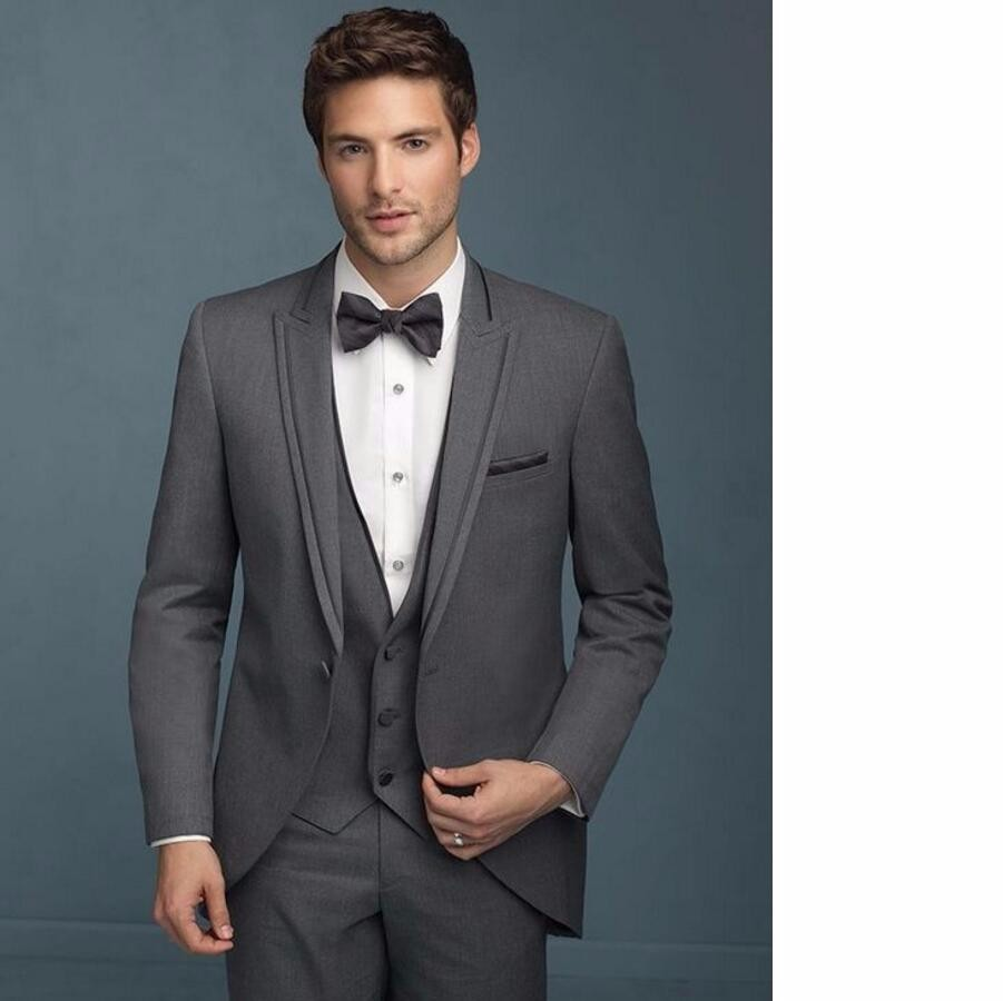 60.1 Gray Groom Tuxedos Groomsman Suit Italian Style three-Piece Wedding Prom Party Suits For Men Bridegroom Suit