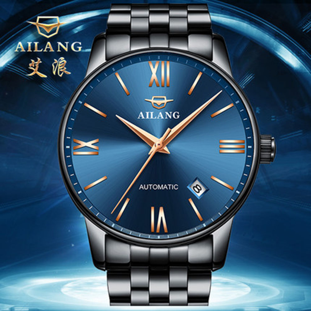 Luxury ultra-thin fashion male watch stainless steel waterproof table automatic mechanical mens watch double calendarLuxury ultra-thin fashion male watch stainless steel waterproof table automatic mechanical mens watch double calendar