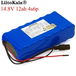 LiitoKala 14.8V 12Ah 4s6p 18650 li-iom battery pack night fishing lamp heater miner's amplifier batteries with BMS