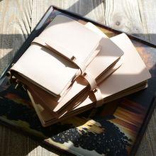 Бежевый перезаправляемый кожаный блокнот ручной работы дневник