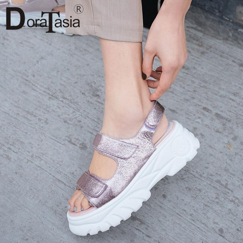 DORATASIA a estrenar talla grande 34 42 zapatos de plataforma plana de cuero genuino para mujer zapatos informales para fiesta Ol sandalias de verano-in Sandalias de mujer from zapatos    1