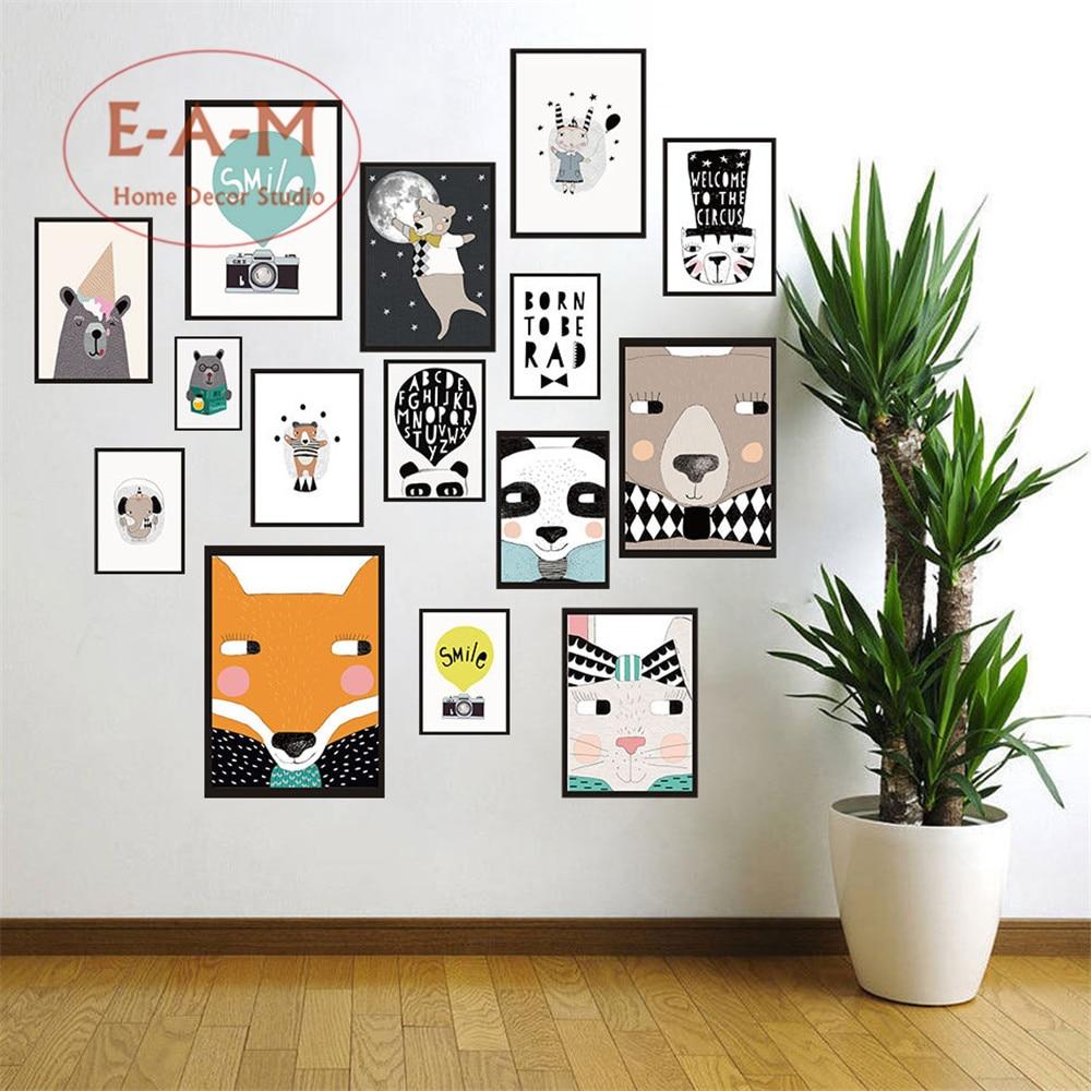 원래 보육 동물 캔버스 아트 인쇄 포스터 벽 아이 방 홈 장식 침실 장식 프레임