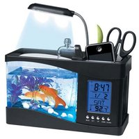 Usb desktop aquarium Mini USB Aquarium fish tank water pump light calendar alarm clock