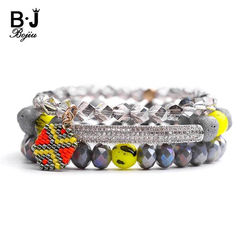 Bracelet em Jóias Bojiu Bohemian Mulheres Pulseiras Moda Cinza Druzy Pulseira Pedra Natural Rodada Charm Presente Bcset107 3 Pçs – Set