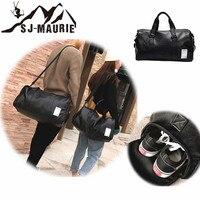 Travel Handbags Pu Leather Gym Male Bag Top Female Sport Shoe Bag for Women Fitness Over The Shoulder Yoga Bag Black