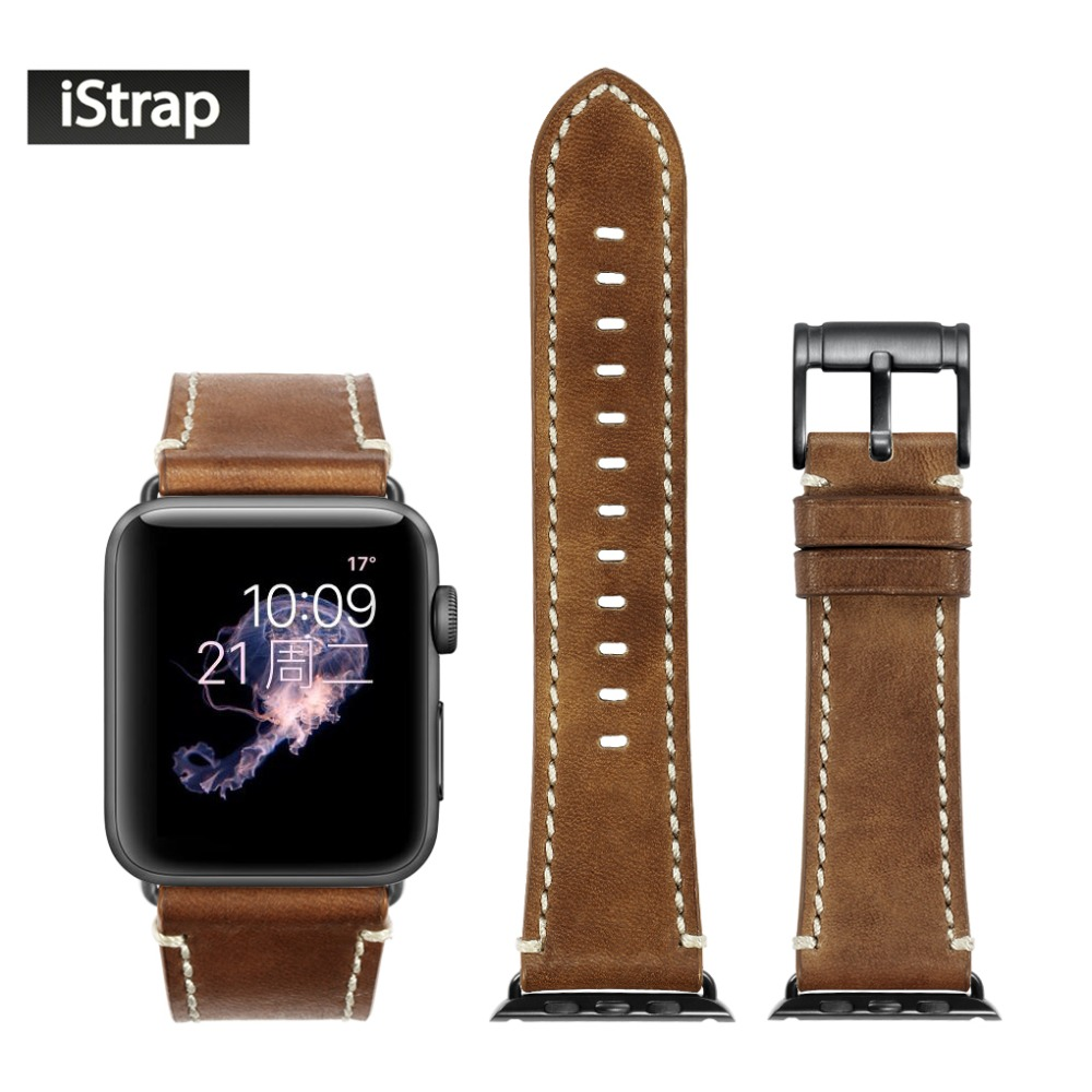 iStrap Brown Band For Apple Watch Sport 42mm Soft Leather Replacement Strap Black Buckle Adapter For iWatch Series 1 and 2 eache 38mm 42mm dark brown replacement watch straps fit for apple watch vegetable tanned leather watch band for women or man