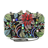 Luxury Evening Clutch Bag High Quality Diamond Handcraft Crystal Purse Bride Banquet Gold Hollow Flowers Banquet