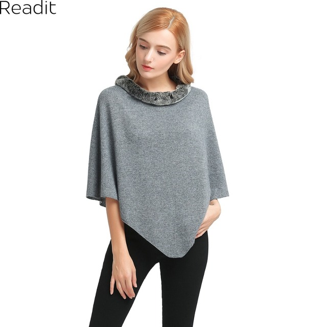 Very best Readit Winter Womens Poncho and Cape Fur Collar Poncho Sweater  UA74