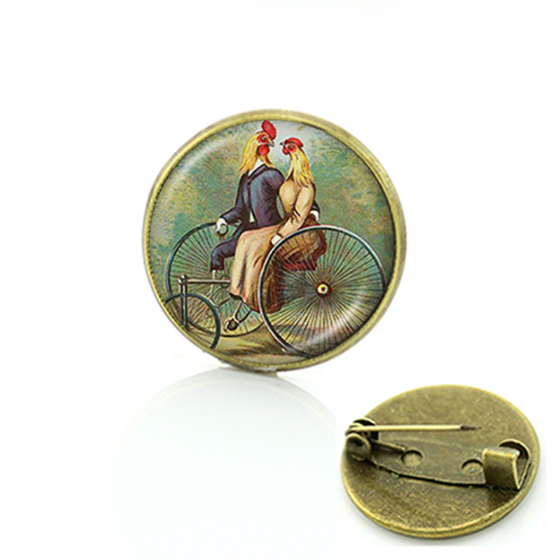 Kokopelli Sun Dance resin brooches cock Southwest jewelry fertility diety short Vintage art Glass cabochon men women pins C481