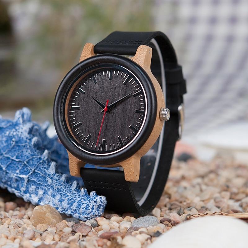 BOBO OISEAU Haut Quantité Hommes En Bois Quartz Montre avec Bracelet En Cuir comme Cadeau Personnalisé Logo relojes hombre