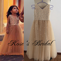 Real Picture Little Girls Dresses Deep V Neck Pearls Beading Full Beaded Crystal Shinning Little Flower Girls Dresses Champagne
