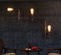 Retro Nostalgia Sitting Room Restarant Bar Creative Lamps LOFT American Industrial Corridor Stairs The Pipe Wall