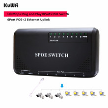 купить KuWFi 90W 8 Port PoE Switch 10/100Mbps POE Switch Power Ethernet For IP Camera Network Switch Phone Devices Wirelss AP Setting по цене 1718.81 рублей